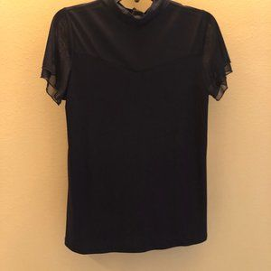NWT Adele & May Mock Neck Sheer Top, Small